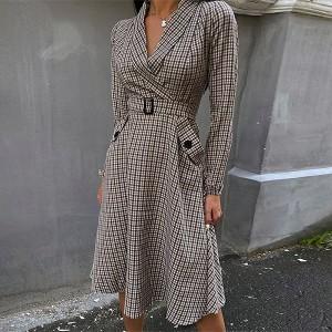 Midi blazer karirana haljina s remenom *limitirana kolekcija*