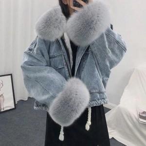 Kratka zimska traper jakna s krznom