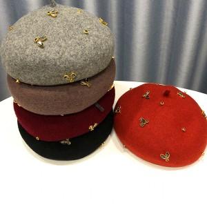 Vunena beretka s ukrasnim kristalima 18 boja *Limitirana kolekcija*