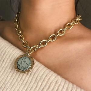 lanac ogrlica s privjeskom tirkizni krug