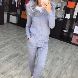 Pleteno odijelo hlače + jakna s krznom