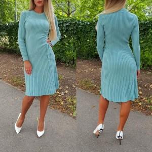 Pletena haljina dugih rukava s naborom 4 boje