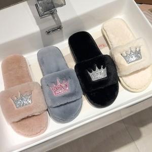 Ženske krznene papuče s glitter krunom *Posebna ponuda*