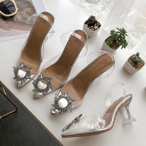 Transparentne pvc cipele na petu s ukrasom i kvadratnom petom *Limitirana kolekcija*