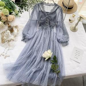 Vintage čipkana haljina na točkice 4 boje EU38/M