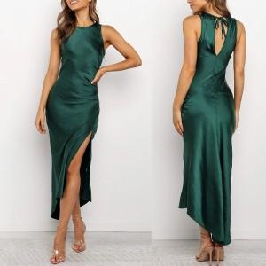 Midi satenasta haljina s prorezom