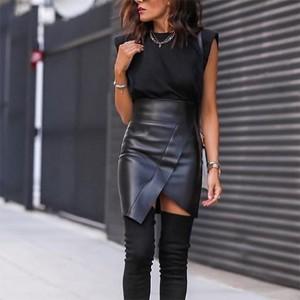 Mini asimetrična suknja kožnog izgleda