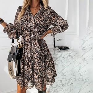 Mini haljina na volane leopard uzorka