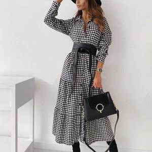 Midi haljina na kockice s remenom