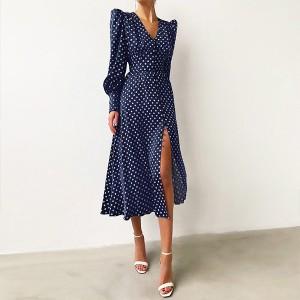 Midi točkasta satenasta haljina na dugmad *Limitirana kolekcija* 2 BOJE standardni S/36