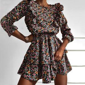Mini cvjetna haljina na volane 2 modela