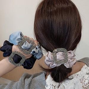 Satenasta gumica za kosu s kristalnim ukrasom 16 BOJA