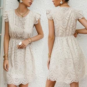 Mini pamučna haljina na volane s vezom