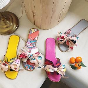 Natikače sandale sa šarenom mašnom 4 BOJE