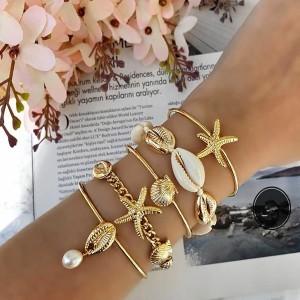 Komplet od 5 narukvica školjka morska zvijezda