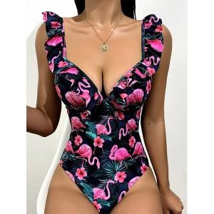 Jednodijelni push up kupaći kostim s plamencima *Limitirana kolekcija*