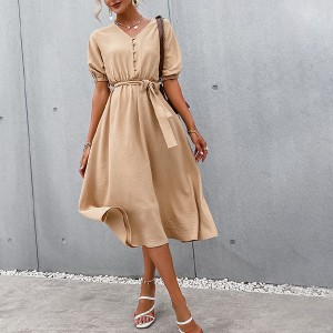 Midi haljina zvono kroja na dugmad *Limitirana kolekcija*