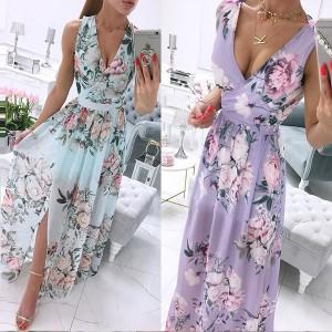 Cvjetna šifonasta haljina s prorezom 8 BOJA
