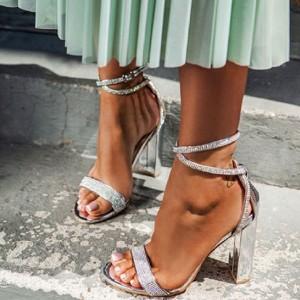 Sandale s kristalima na stabilnu petu *Limitirana kolekcija*