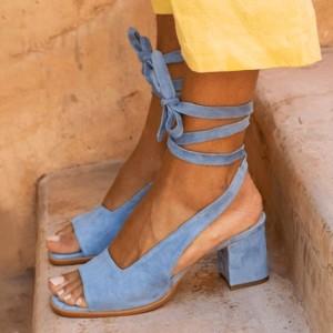 Sandale izgleda brušene kože na blok petu 3 BOJE