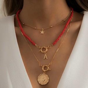 Ogrlica od 3 lančića zvijezda novčić A perlice