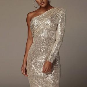 Luksuzna haljina na jedno rame sa šljokicama 4 BOJE *Limitirana kolekcija*