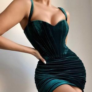 Luksuzna baršunasta haljina preklopnog izgleda