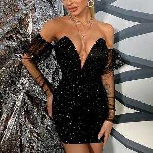 Mini svečana haljina dubokog izreza na šljokice