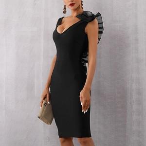 Luksuzna midi bandage haljina s volanom od tila  *Premium kvaliteta*