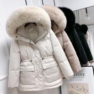 Kratka zimska jakna punjena pačjim perjem s pravim krznom na kapuljači 10 BOJA *Premium kvaliteta*