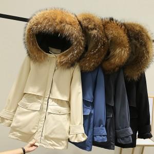 Kratka zimska jakna punjena pačjim perjem s pravim krznom na kapuljači 2 opcije boje krzna 8 BOJA JAKNE *Premium kvaliteta*