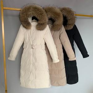 Duga zimska jakna punjena pačjim perjem s pravim krznom na kapuljači 12 BOJA *Premium kvaliteta*