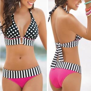 Pinup točkasti dvodijelni kupaći kostim