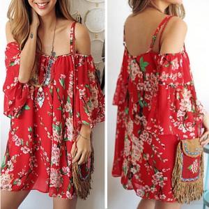 Mini boho crvena tunika haljina univerzalna veličina