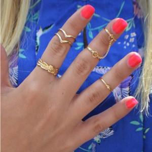 Set od 6 mini prstenova zlatna srebrna