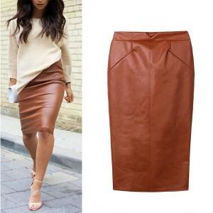 Midi pencil suknja izgleda kože crvena smeđa crna