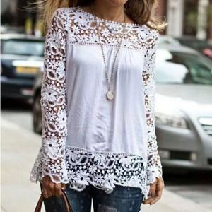 Čipkana cvjetna bluza dugih rukava