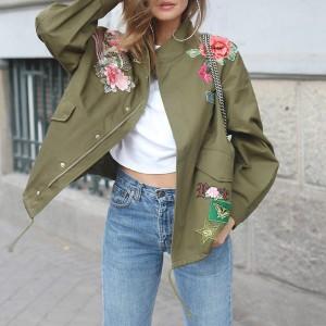 Cvjetna blogerska bomber zelena jakna