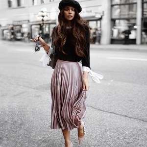 Midi vintage plisirana suknja