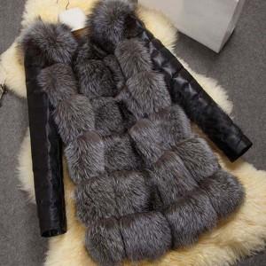 Zimska kožna jakna bunda s krznom