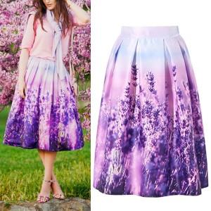 Midi vintage suknja s printom lavande