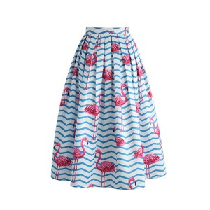 Luksuzna midi plavo roza Flamingo suknja
