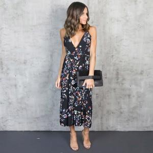 Maxi cvjetna haljina dubokog V izreza