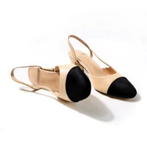 Klasične dvobojne otvorene cipele blok peta