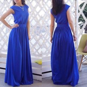Maxi večernja plava haljina