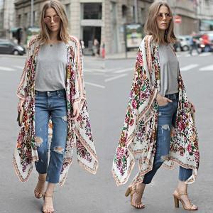 Asimetrični ljetni kimono kardigan cvjetnog uzorka