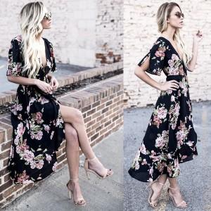 Midi cvjetna asimetrična haljina
