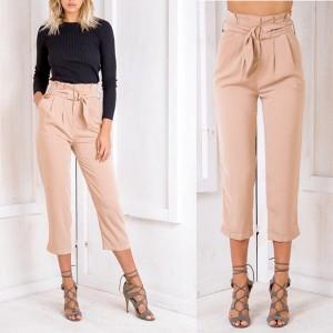 Poslovne hlače visokog struka s dekorativnim remenom