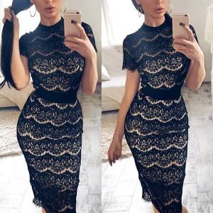 Midi čipkana elegantna haljina povišenog ovratnika