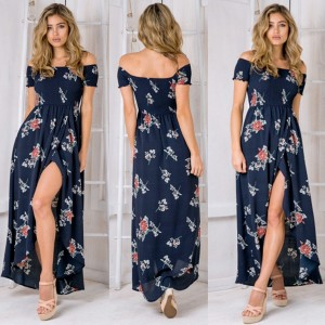 Duga plava cvjetna haljina na preklop